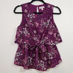 NWT Monteau Tiered Floral Blouse Front Tie, sz L